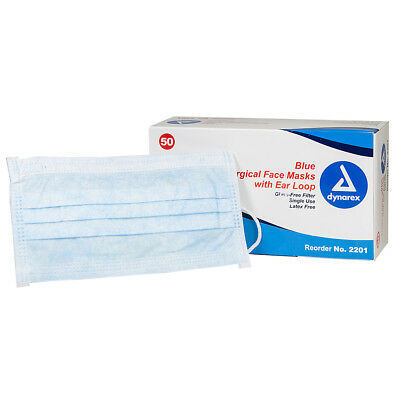 SafeB Earloop Latex-Free Surgical Face Masks Box of 50