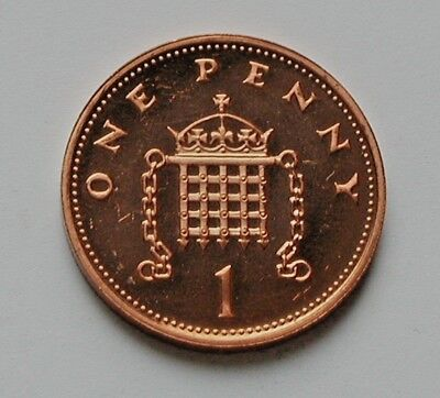 2002 UK (British) Coin - 1 Penny - AU++ toned-lustre (from proof mint set)