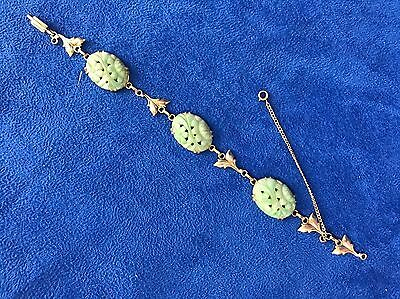 Antique/Vintage 14 K Gold Carved And Pierced Jade Bracelet