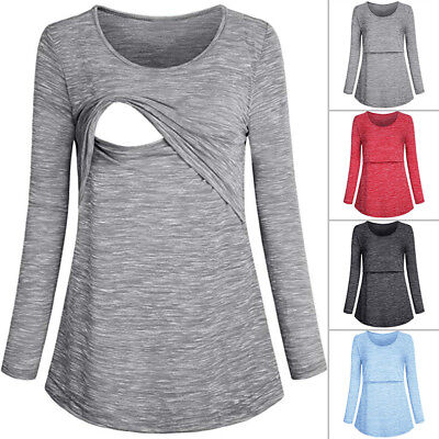 Women Maternity Clothes Breastfeeding Nursing Tops Autumn Long Sleeve Blouse