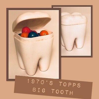 Vintage 1978 Topps BIG TOOTH Bubble Gum Candy Container 1970's Confectionary