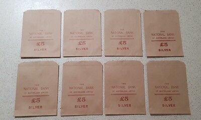 The National Bank of Australasia 8 x NOS 5 Pound Silver Paper Money / Coin Bags