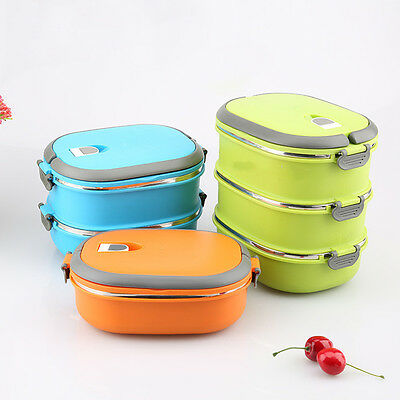 Insulated Lunch Box Food Storage Container Thermos Servers Stainless Thermal AU