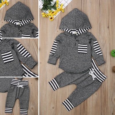 Toddler Baby Boys Girls Unisex Clothes Warm Hooded Sweatshirt+Pants Outfits 0-3T