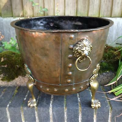 Antique Copper Riveted Log Basket Lions Head Brass Paw Feet Old Architectural.