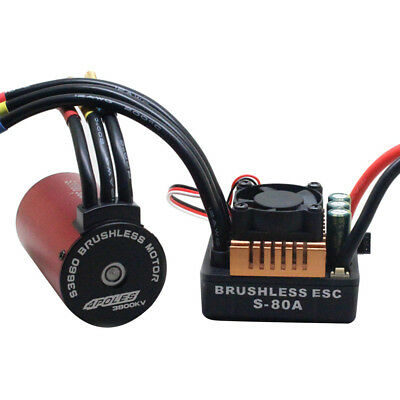 S3660 3800KV Brushless Motorwith 80A ESC Combo Set For 1/8 1/10 RC Car