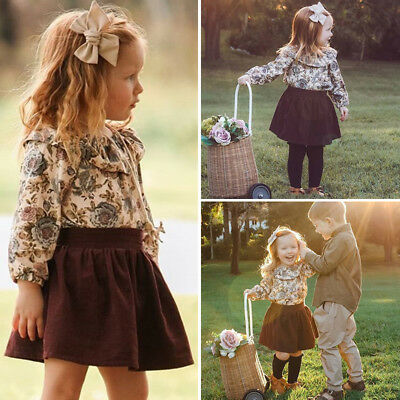Sweet Toddler Kids Baby Girl Floral Ruffle Tops Dress Skirts 2Pcs Outfit Clothes