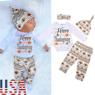 Thanksgiving Baby Boy Girl Unisex Outfits -HAPPY THANKSGIVING- Turkey 4PCS Sets
