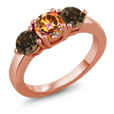 1.87 Ct Ecstasy Mystic Topaz Brown Smoky Quartz 18K Rose Gold Plated Silver Ring