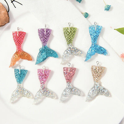 10x Mixed Glitter Mermaid Fish Tail Charm Resin Pendant Fit Bracelet/Necklace GT