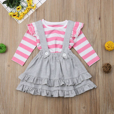 2PCS Toddler Kids Baby Girls Autumn Outfits Clothes Ruffle Tops Suspender Skirts