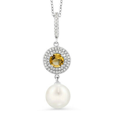 1.32 Ct Round Yellow Citrine 925 Sterling Silver Shell Pearl Pendant