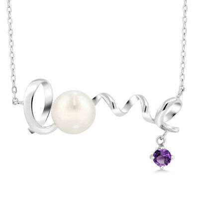 0.36 Ct Round Purple Amethyst 925 Sterling Silver Pearl Pendant With Chain