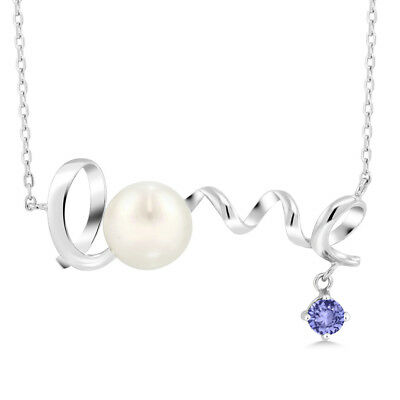 0.38 Ct Round Blue Tanzanite 925 Sterling Silver Pearl Pendant With Chain