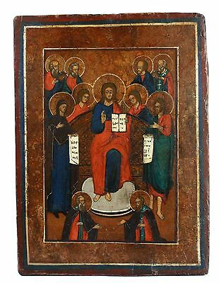 """Antique 19th century Russian Orthodox Hand Painted Wood Icon  """"King of Glory"""""""