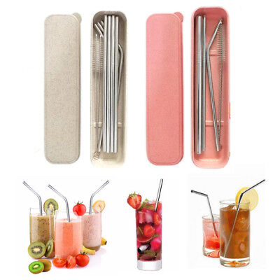 Stainless Steel Metal Drinking Straw Reusable Straws + Cleaner Brush Set Kit Box