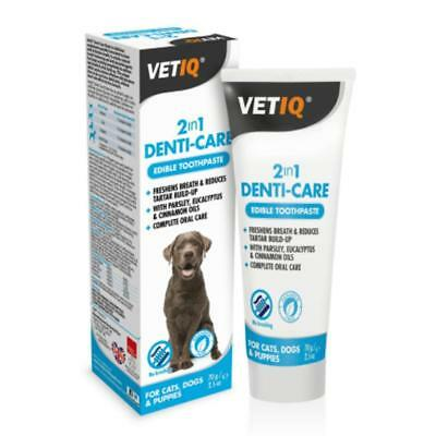 Mark & Chappell VETIQ DENTICARE PASTE Dog Cat Dental Oral Tartar Toothpaste 70gm