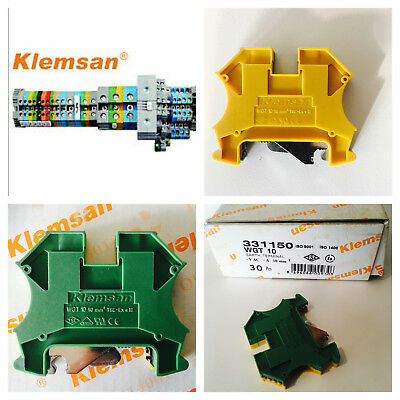 Din rail earth terminals connectors 10mm yellow/green.  KLEMSAN WGT SERIES