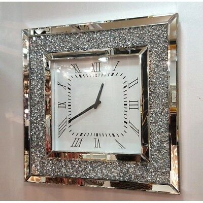 50cm Silver Decorative Clock Jeweled For Wall Silent Mirrored Edge Home Decor UK