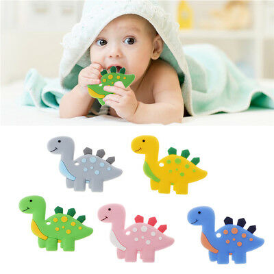 Silicone Teething Toy Baby Teether Beads DIY Chew Necklace Dinosaur Pendant NEW