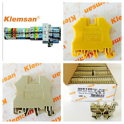 2.5mm 2 screw type single deck feed through terminal block din rail beige yellow