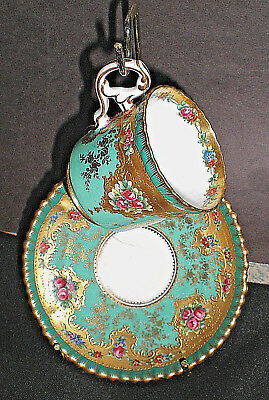Vintage ( Tiffany & Co ) Gorgeous Antique Gold Painted Cup + Saucer Beautiful