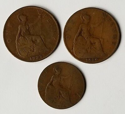 LOT of 3 UK GREAT BRITAIN ONE & HALF PENNY COPPER COINS 1913 1919 & 1927 NICE