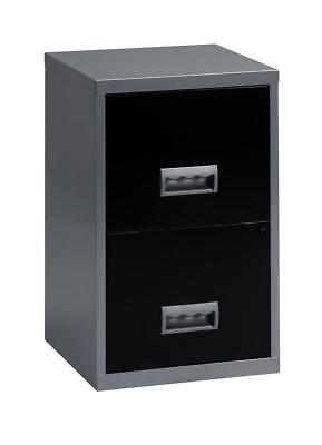 Pierre Henry Filing Cabinet Steel Lockable 2 Drawers A4 Silver and Black Ref 095