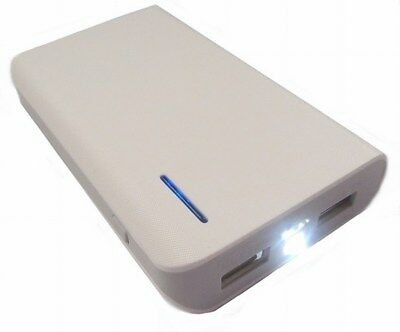 LMS Dual USB Portable PowerBank Charger with Torch, 6000mAh, White (USB-PBK-6000