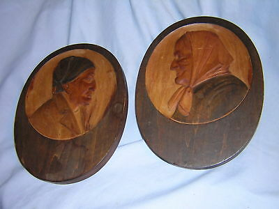 "Antique Hand Carved Wood Man & Woman Wall Plaques ~ Folk Art ~ Signed "" AHA B """