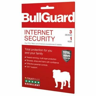 BullGuard Internet Security 2019 Retail, 3 User - PC, Mac & Android, 1 Year - BG