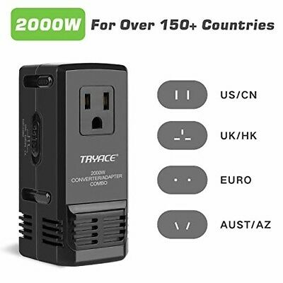2000W Worldwide Travel Converter and Adapter Set Down Voltage 220V to 110V New