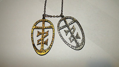 Vtg Unisex Gaming Cosplay Zelda Like Necklace Double Z Cross Pendant