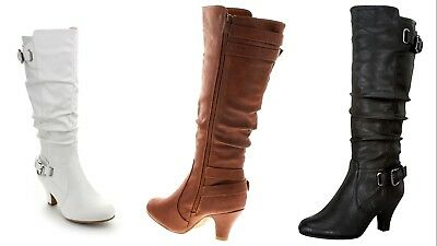 281673b5c4b Top Moda Womens Bag-55 Knee High Buckle Slouched Kitten Heel Fashion Boots