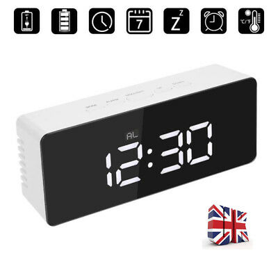 Digital LED Mirror Alarm Clock w/ Temperature LED Light Table Time Bedside Clock
