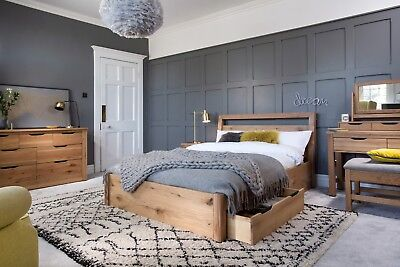 Roma Solid Oak Bed Frame With Storage