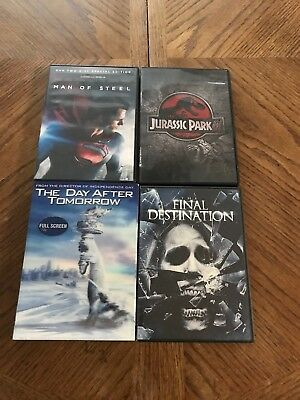 Lot of 4  USED DVD Final destination Day after tomorrow man of steel Jurassic pa