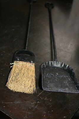 Antique Vintage Wrought Iron Fireplace Tools Hand Forged 2 Pieces 29 inches