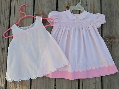 Vintage Pink Dress And Underslip For Baby Girl Beautiful 2 Piece Outfit