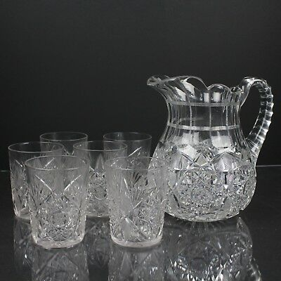 Fine Antique American Brilliant Cut Crystal Glass Pitcher & 6 Tumblers Set, EAPG