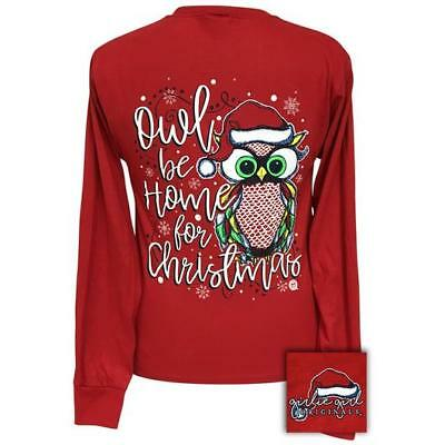 """Girlie Girls Longsleeve Holiday """"Owl Be Home For Christmas"""", Small to 3XL - NEW"""