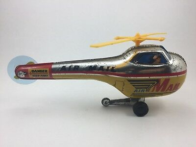 Helicopter Hubschrauber Air Mail Japan Tin toy friction 1960 working colorful