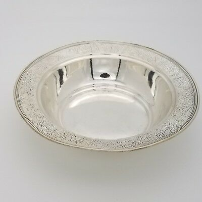 Tiffany & Co. Makers Sterling Silver Grape Leaf Carved Bowl Dish Plate 6 3/8' In