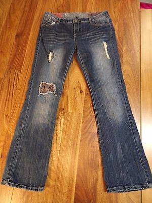 VANILLA STAR JEANS PATCHES STRETCH BLUE DENIM WOMENS 13 Jrs