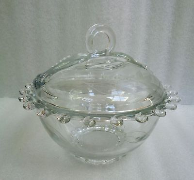 Vintage Heisey LARIAT Covered FOOTED CANDY DISH with DAISY Floral CUT Pattern