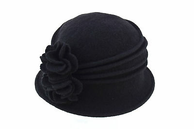 Hat Scala Italia $32 NWT Black Boiled Wool Collapsible Cloche Hat Rose Flowers