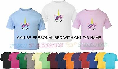 Embroidered T Shirt Unicorn Face - can be personalised with child's name