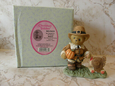 Cherished Teddies WILLIAM 4013422 BE THANKFUL IN ALL THINGS  THANKSGIVING  NEW