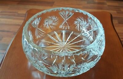 "Heavy Cut Glass Crystal Etched Glass Round Shaped Decorative Bowl 8"" Diameter"
