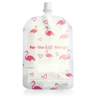 Sinchies 150ml Reusable Food Pouches Infant Baby Pouch 1/5/10 Pack  Flamingo